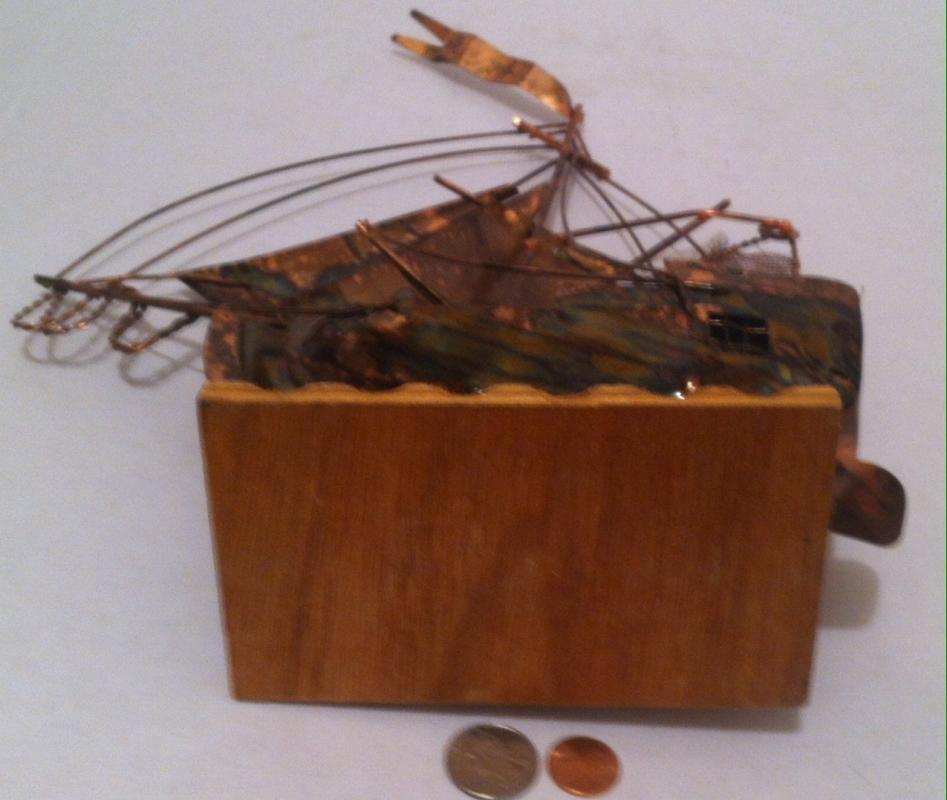 Vintage Metal Brass Sailboat, Wind Up Music Box, Works Good, 16