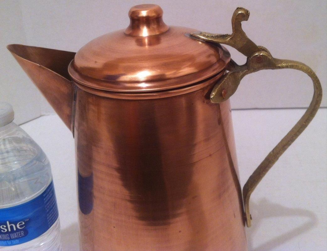 Vintage Metal Copper and Brass Serving Pitcher, 11