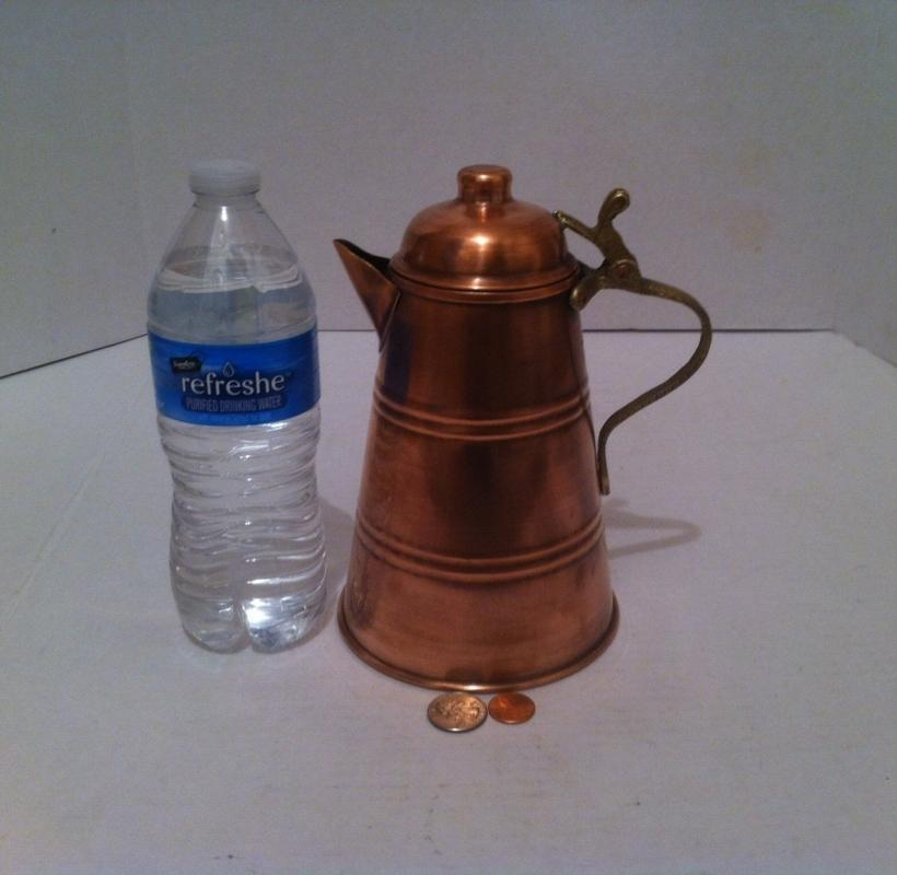 Vintage Metal Copper and Brass Serving Pitcher, 8