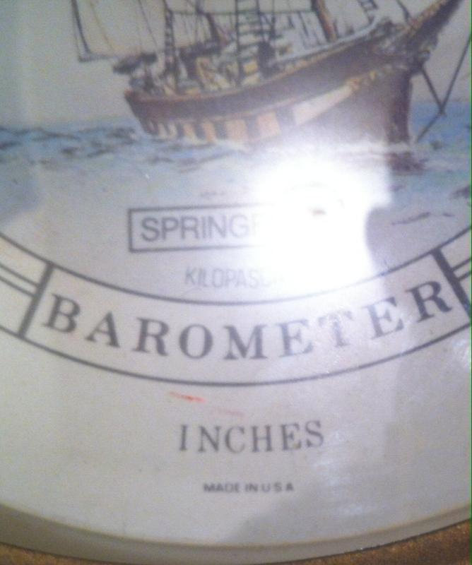 Vintage Metal and Glass Barometer, Made in USA, Change, Springfield, Kilopascals, 9
