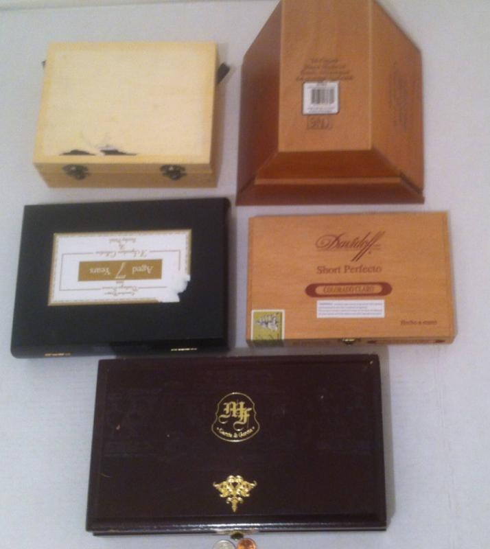 Vintage Lot Of 5 Wooden Cigar Boxes Different Shapes Most With Stick