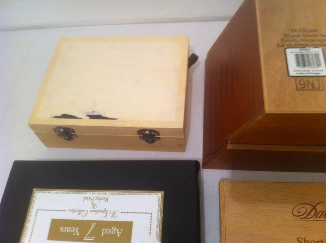 Vintage Lot of 5 Wooden Cigar Boxes, Different Shapes, Most with Sticky Stickers Peeled Off, One of Them is Warped, But Still Good Boxes