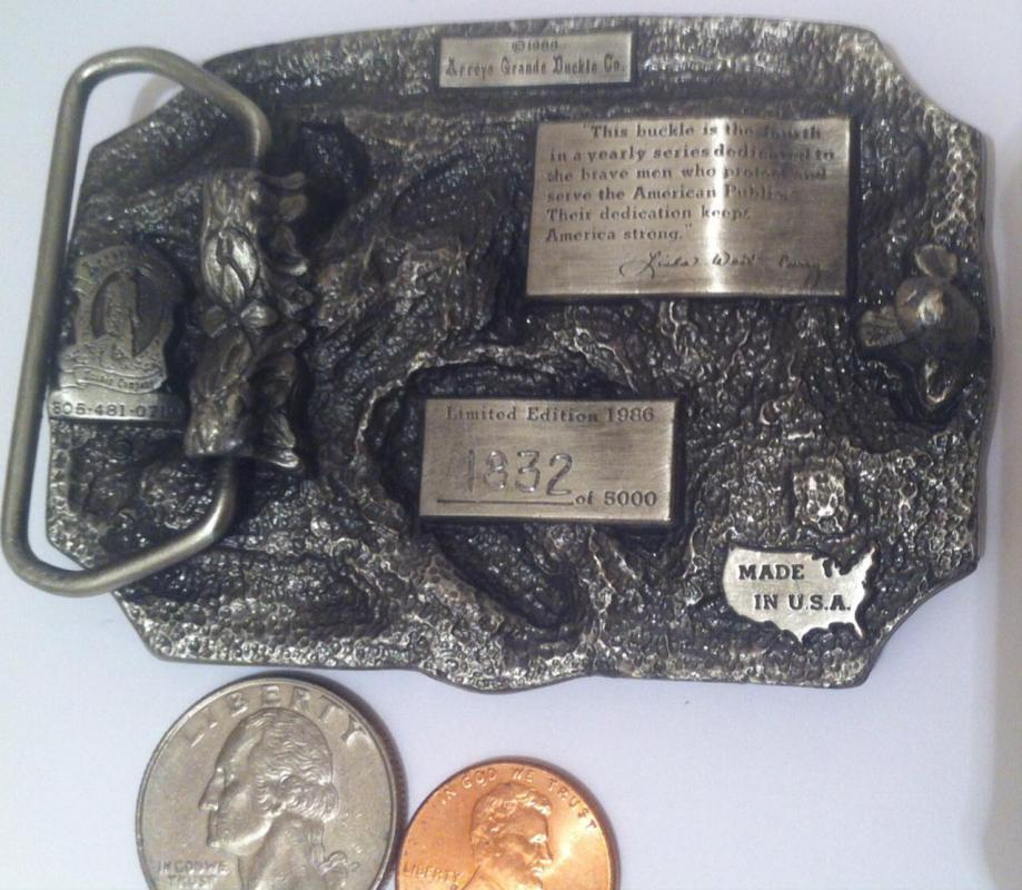 Vintage 1986 Pewter Belt Buckle, Law Enforcement, Police, Cops, Security, Police Dogs, Made in USA, Top of the Line Quality Belt Buckle