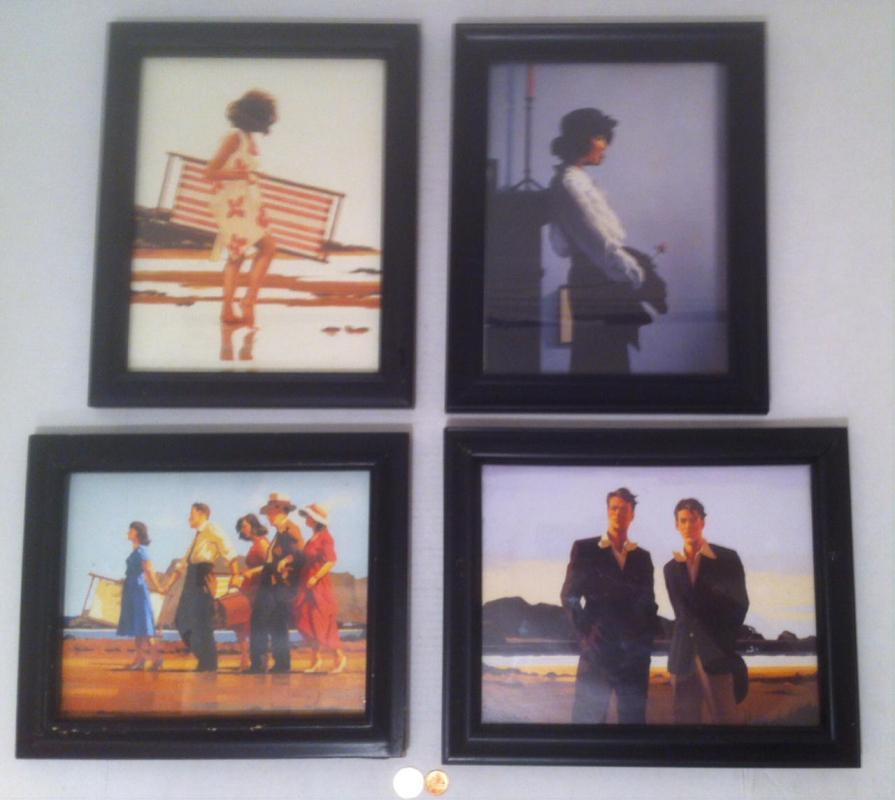 4 Vintage Old Time Pictures, Fun Art, Lady at Beach, More, 13 x 10, Black Glass Frames, Heavy Duty Quality