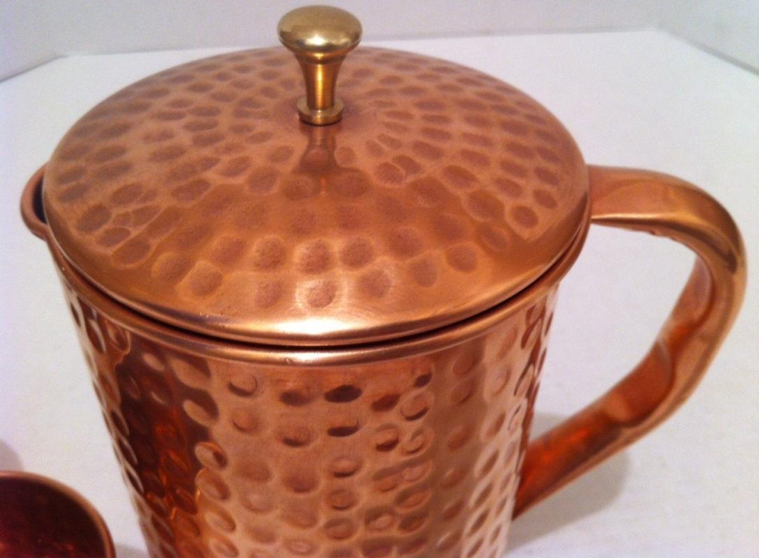 Vintage Metal Copper and Brass Serving Pitcher with Lid and 2 Cups, Glasses, Hammered Metal, Kitchen Décor, Table Décor, Shelf Display