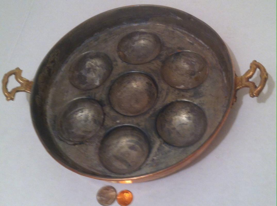 Vintage Copper and Brass 7 Count Egg Pan, Cooking Pan, kitchen Decor, Wall Decor, Shelf Display, Normal Used Vintage Condition, 10