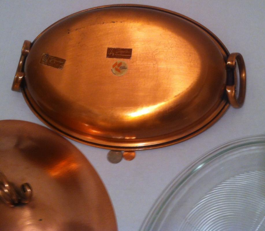 Vintage Copper and Glass Heating Serving Dish, Made in USA, Gregorian Copper, Quality Heavy Duty Cookware, Serving Dish, Quality Copper Dish