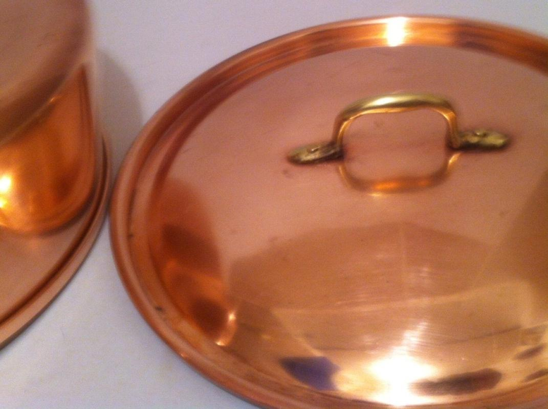 Vintage Copper and Brass Metal Pot with Lid, Kitchen Decor, Copper Hanging Decor, 8 x 3 Pot, 10