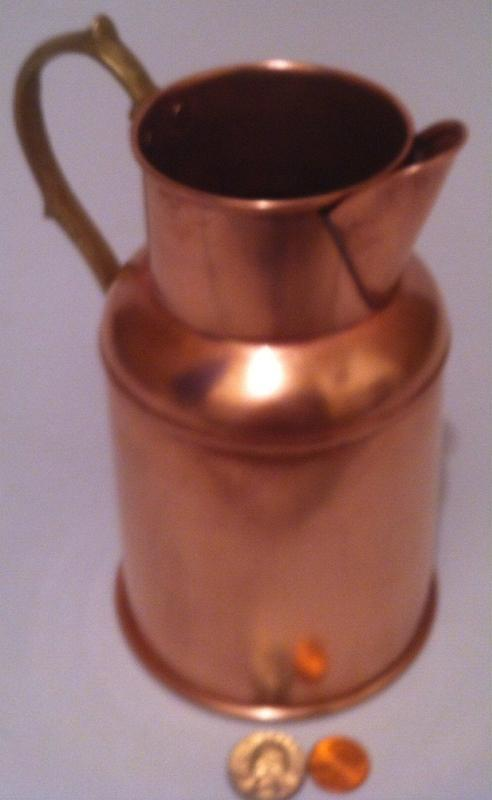 Vintage Copper and Brass Metal Pitcher, Kitchen Decor, Shelf Display, Copper Collection, Quality Old Vintage Copper, 7