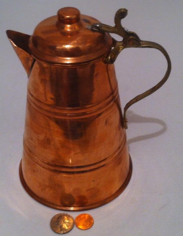 Vintage Copper and Brass Metal Pitcher, Tea Pot, Kettle, Kitchen Decor, Shelf Display, Copper Collection, Made in Turkey, 8 x 5, Fun Copper