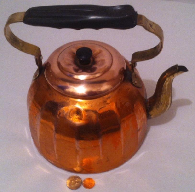 Vintage Metal Copper & Brass Tea Kettle, Tea Pot, Big Size, Heavy Duty, Made in Germany, Kitchen Decor, Hanging Decor, Shelf Display, Copper