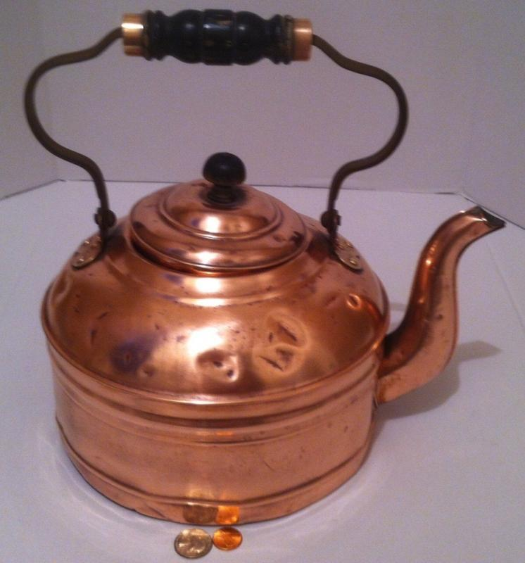 Vintage Metal Copper & Brass Giant Size Tea Kettle, Tea Pot, Heavy Duty, Made in Rome, Kitchen Decor, Hanging Decor, Copper Collection, 12