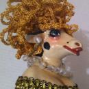 Vintage Fancy Wooden Doll with Wood Cow Head, Arms and Legs, Sequin outfit, Jewelry, Shelf Display, Home Decor, 14