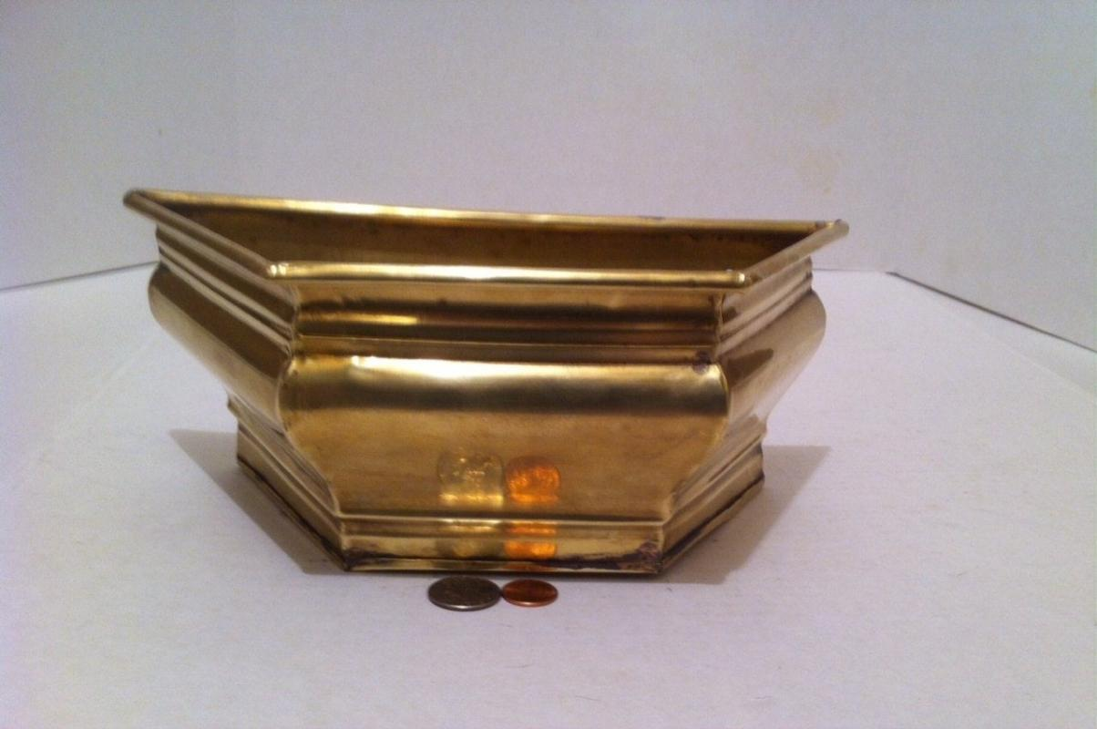 Vintage Metal Brass Hanging Planter, 11