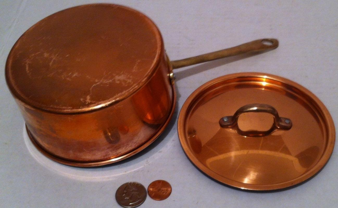Vintage Metal Copper and Brass Pan with Lid, 10 1/2