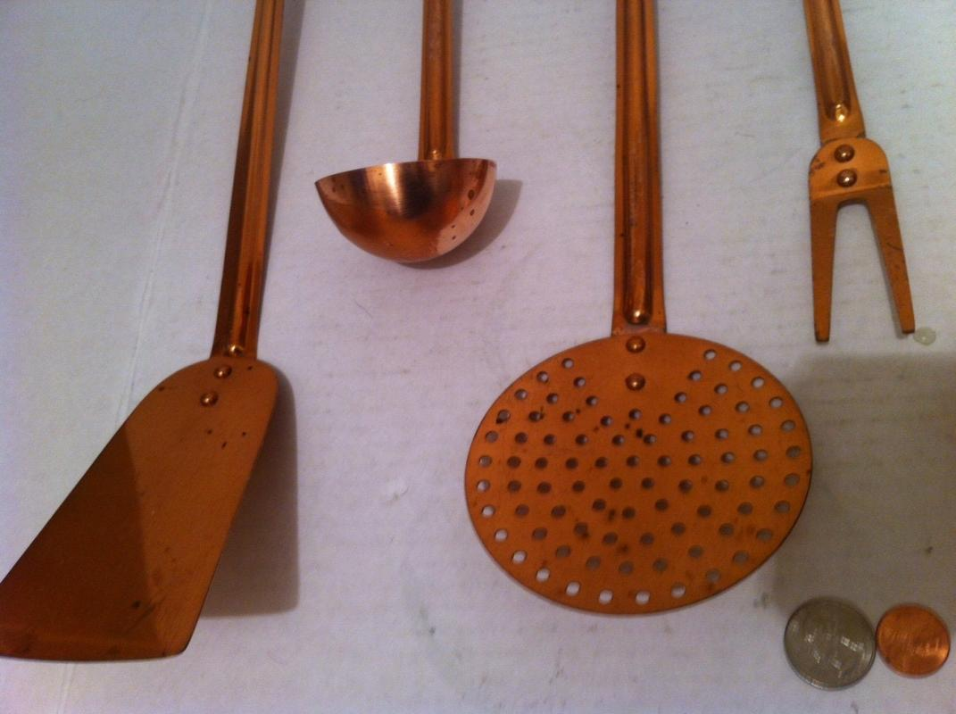Vintage Metal Copper 6 Piece Utensil Hanging Set Display, Quality Copper, Kitchen Décor, Hanging Décor, This Can Be Shined Up Even More