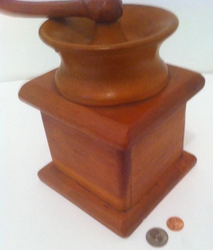 Vintage Wooden Look a Like Coffee Grinder, Wood Pull Out Drawer, All Wood Hand Made, Big, Kitchen Decor, 10 inches tall, 9 inches wide, Wood