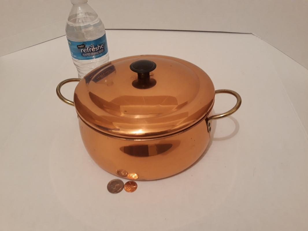 Vintage Metal Copper and Brass Cooking Pot with Lid, 11
