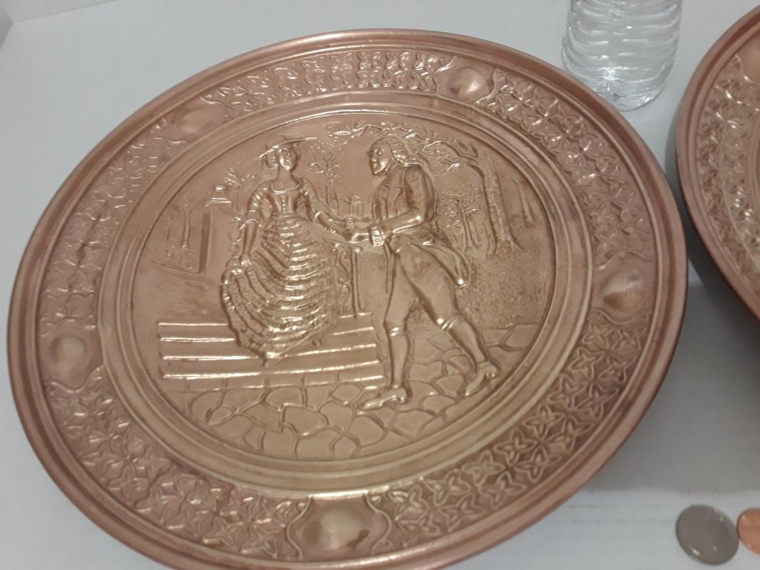 2 Vintage Metal Brass Wall Hanging Plates, Made in England, Quality Metal Plates, 14