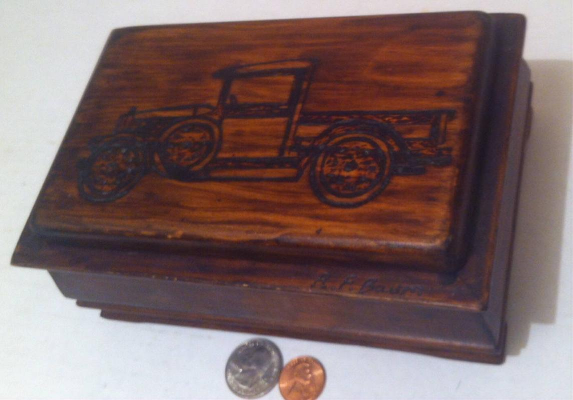 Vintage Wooden Storage Box with Cool Old Fashioned Antique Pick Up Truck on the Lid, Unique Lid Also, Quality Craftsmanship, 7 x 4 1/2 x 3