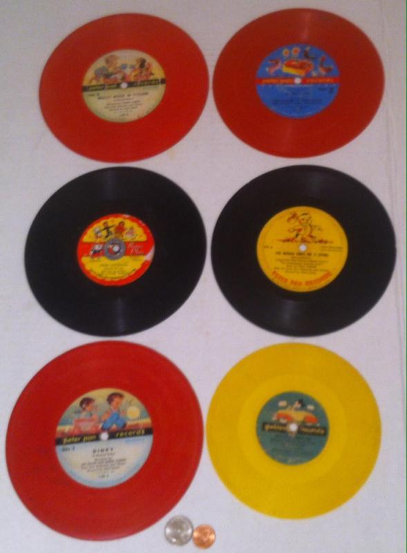 Vintage Lot of 6 Records, 1950s, Golden Records, Mickey Mouse, Peter Pan Records, Mighty Mouse in Toyland, Mickey's New Car, Wall Decor