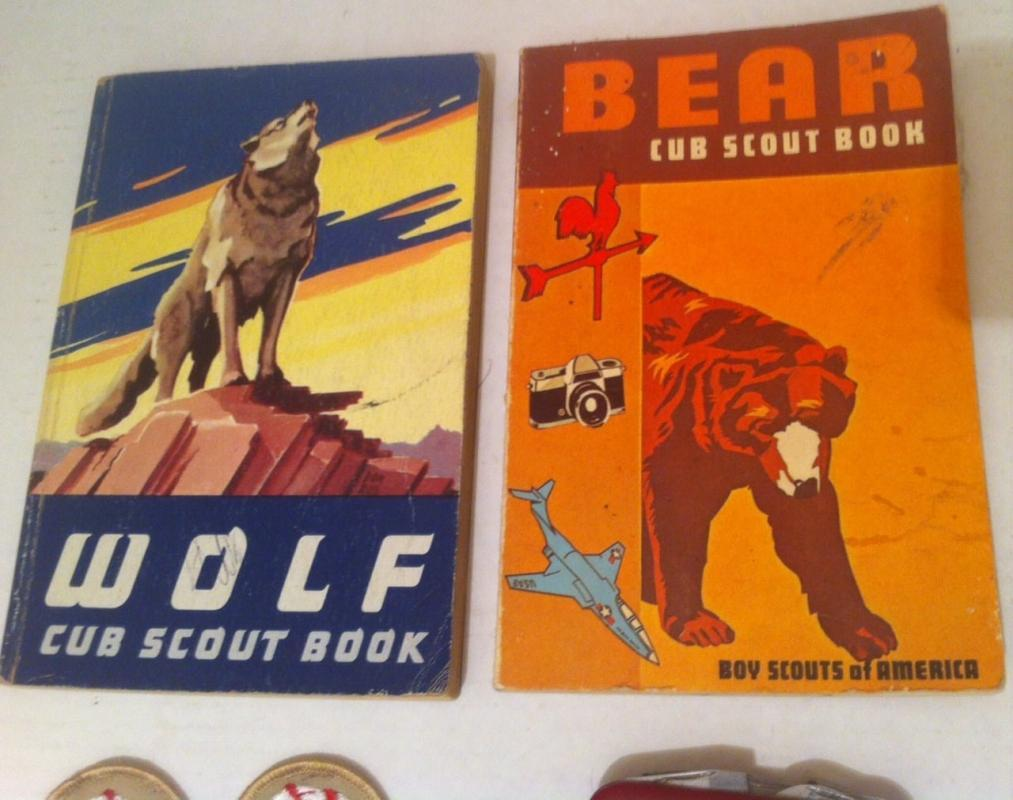 Vintage Set of Boy Scouts Items, Bear Cub Scout Book, Wolf Cub Scout Book, Swiss Army Knife, Patches, Fun.
