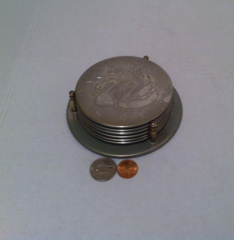Vintage Set of Metal Silver Cup Coasters, Coaster Set, Swans, 6 Metal Coaster Set, Kitchen Decor, Shelf Display