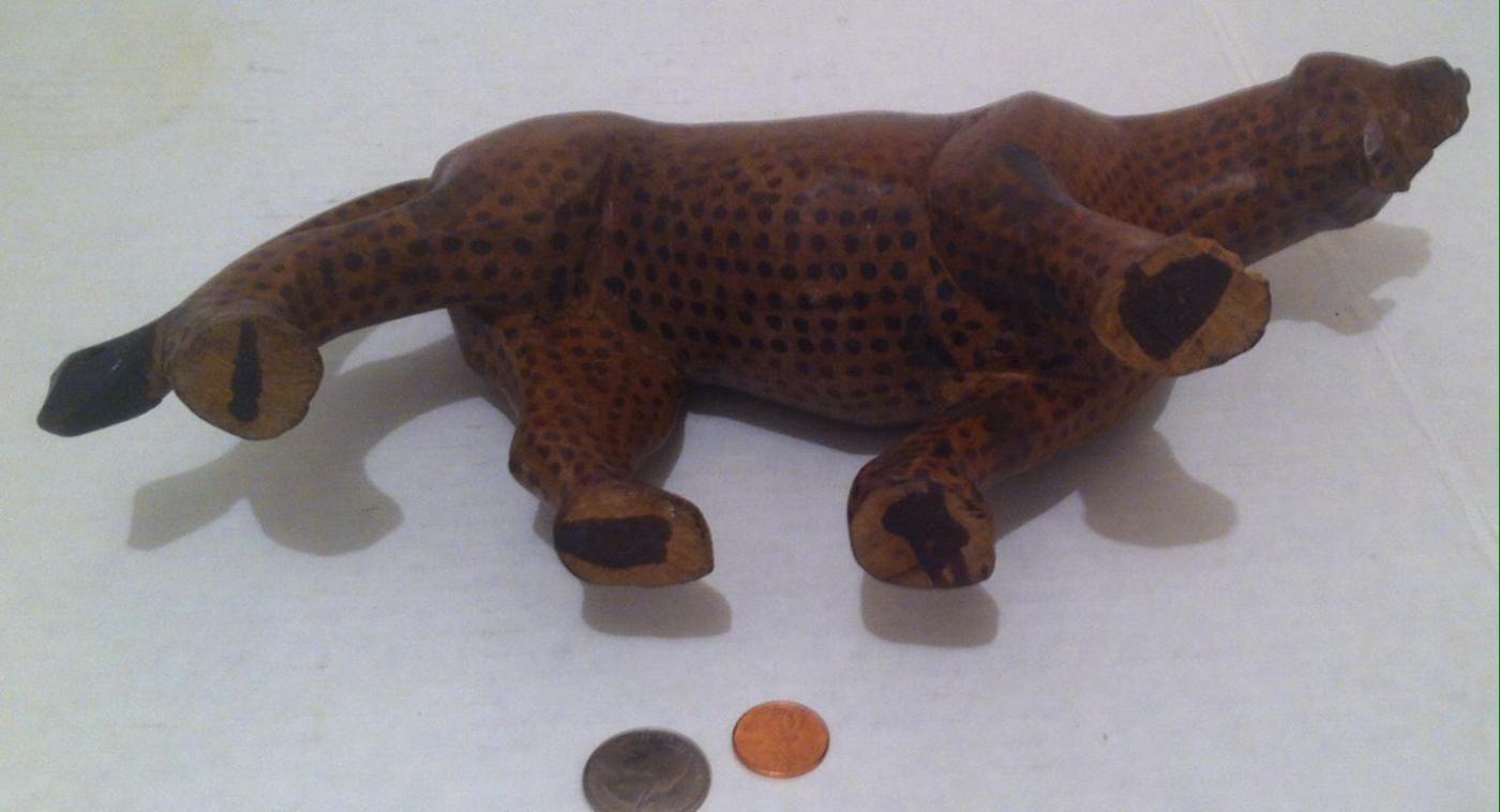Vintage Wooden Animal, Heavy Duty Quality Hardwood, Leopard, Cheetah, Jaguar, Tiger, Wild Animal, 12