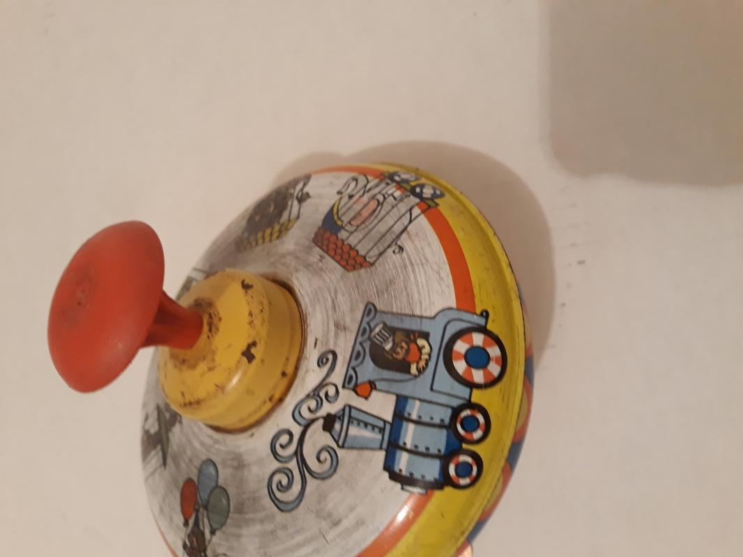 Vintage Tin Metal Spinning Top Toy, Made in USA, Ohio Art, 5