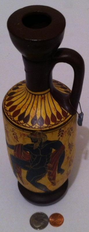 Vintage Hand Made Artistic Vase, Made in Greece, Classical Copy Period 650-800 B.C., Hand Made in Greece, Home Decor, Shelf Display, 10 1/2