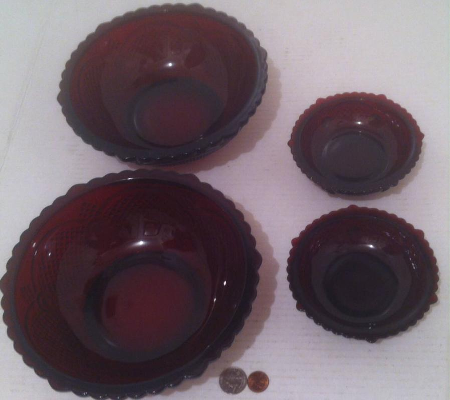 """4 Vintage Avon Bowls,  The 1876 Cape Cod Collection, Red Glass, Collectible Glass, Quality, 8 1/2"""" and 5"""" Bowls, Displays"""