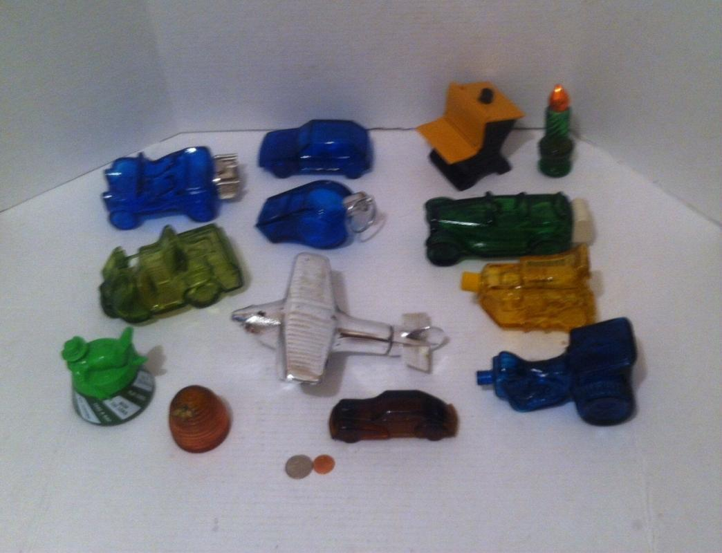 Vintage Lot of 13 Assorted Avon Glass Bottles, Airplane, Cars, Trike, Spinning Toy, Odds and Ends, Home Decor, Shelf Display, Collectible