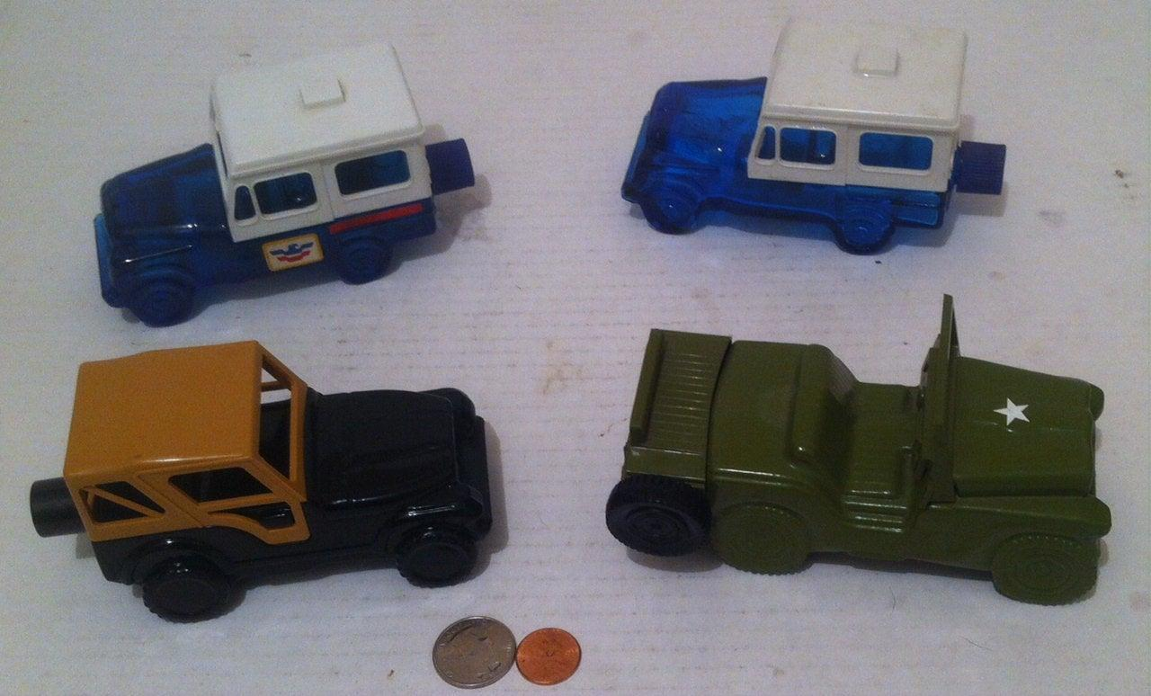 Vintage Lot of 4 Jeep Glass Bottles, Avon Jeep Collectibles, Renegade, Post Office Jeep, Army Jeep, Home Decor, Shelf Display, Cologne