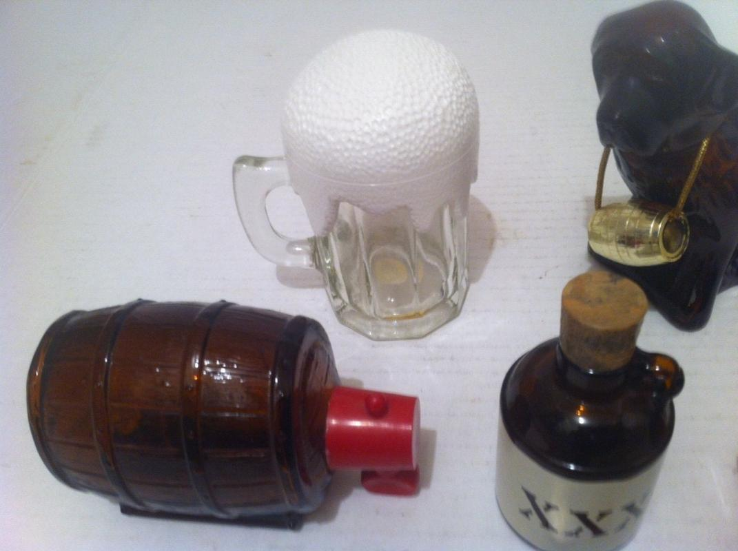 Vintage Collection of 5 Glass Alcohol Items, Beer Glass, Whiskey Kegs, XXX Moonshine, Saint Bernard, Glass Bottles, Avon Collectibles, Home