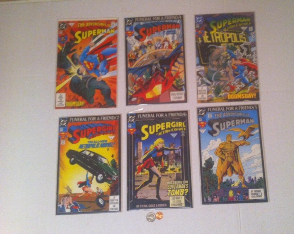 6 Vintage Comic Books, Superman, Funeral For A Friend, Supergirl, DC Comics, Each One In Plastic Bags, Kids Comic Books, Cartoons, Comics