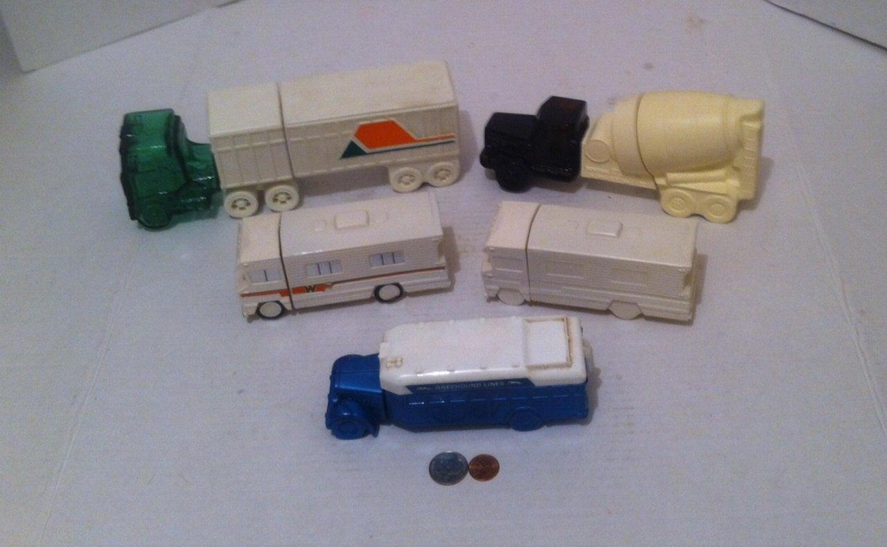 Vintage Lot of 5 Glass Bottle Trucks, Avon Collectible Cologne Bottles, After Shave, Home Decor, Shelf Display, Truck Collection