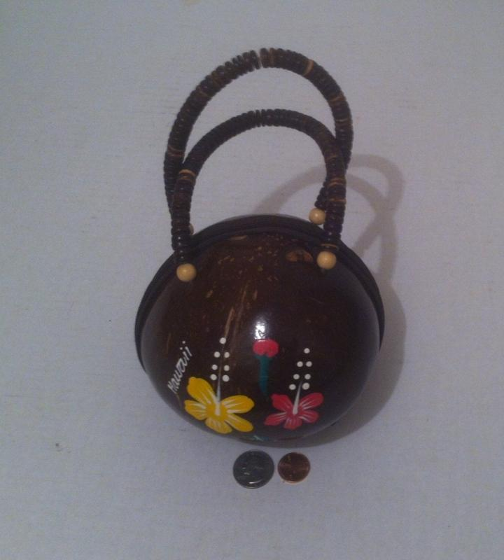 Vintage Wooden Handmade Coconut Shell Tiki Purse From Hawaii, Unique Style, One of  a Kind, Beaded Handle, Nice Interior Purse, Handbag