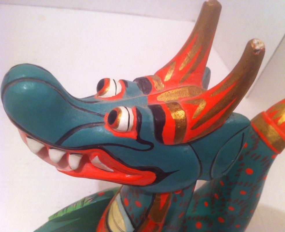 Vintage Wooden Movable Colorful Dragon, Detailed Wooden Face, Body, 17 x 7 1/2, Many Positions, Fun Decor, Artistic Wooden Dragon