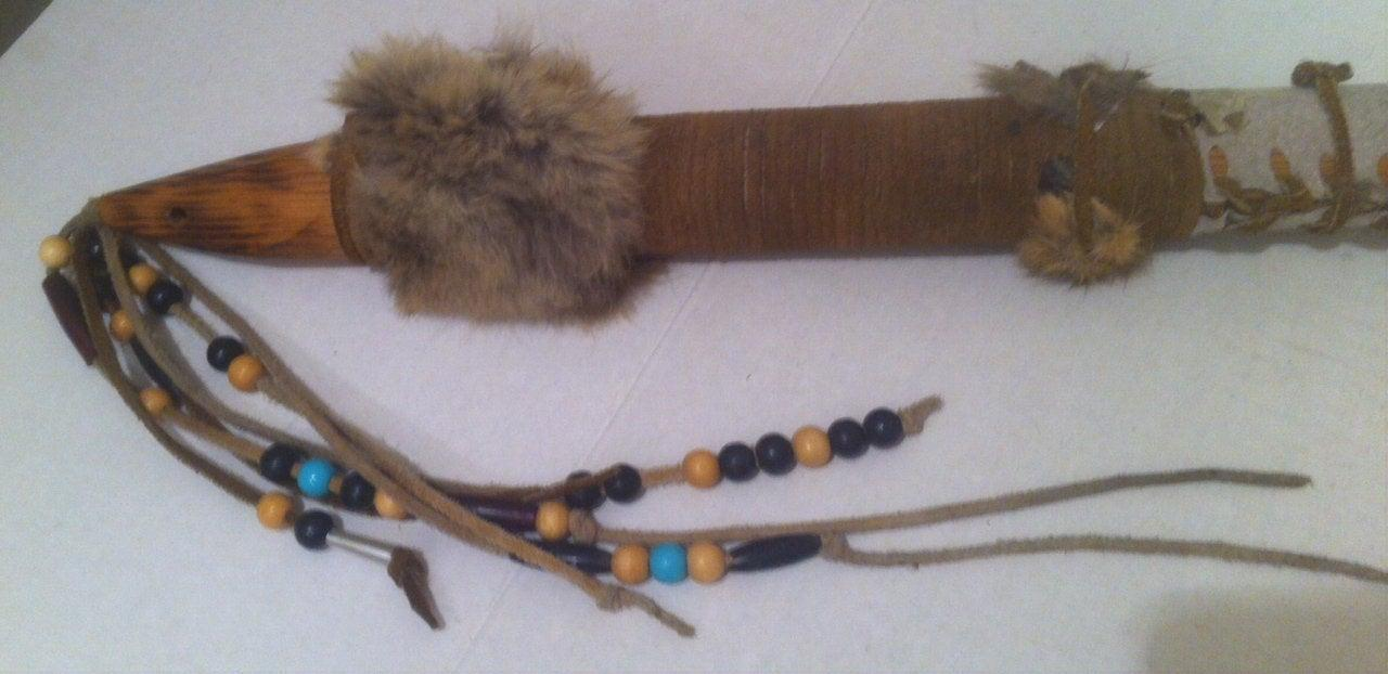 Vintage Wooden Leather Covered 36