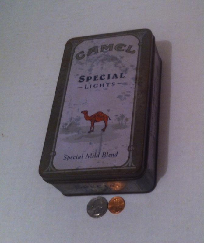 Vintage Metal Tin Can Camel Cigarette Box, Storage Box, Stash Box, Camel Special Lights, 7 1/2 x 4 1/2 x 2, Metal Tin Can Tobacco Box