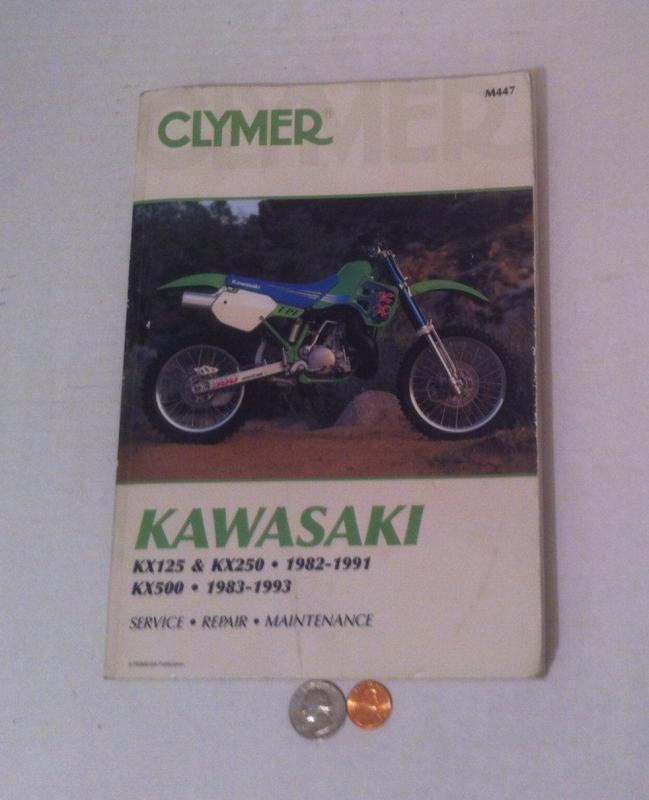 Vintage Motorcycle Dirt Bike Repair Manual, Kawasaki KX125, KX250, 1982-1991 and KX500 1983-1993, Service, Repair, Maintenance, Clymer Book