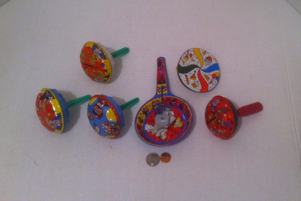 Lot of 6 Vintage Tin Metal Toys, Made in USA, Banks, Noise Makers, Clowns, Rattles, Party Noise Makers, Vintage Kids Toys, Fun Toys