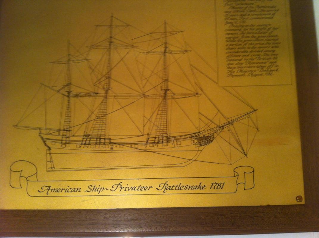 Vintage Metal and Wood Picture, Ship, American Ship, Privateer Rattlesnake 1781, 20 x 16 inches, Armed and Fitted at Private Expense
