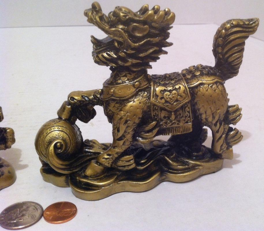 Vintage Set of 2  Feng Shui Resin Dragon Horses,  Wealth, Prosperity, Table Decor, Shelf Display, House Warming Gift, Chi Lin is a Mythical