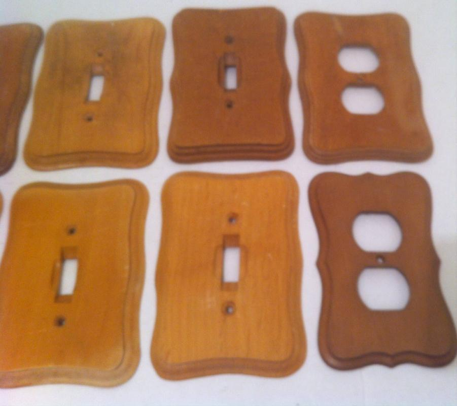 12 Vintage Light Switch Covers, Socket Covers, Etc.  Vintage, But with a Light Sanding, They Can Look Like New, Or Stain Them
