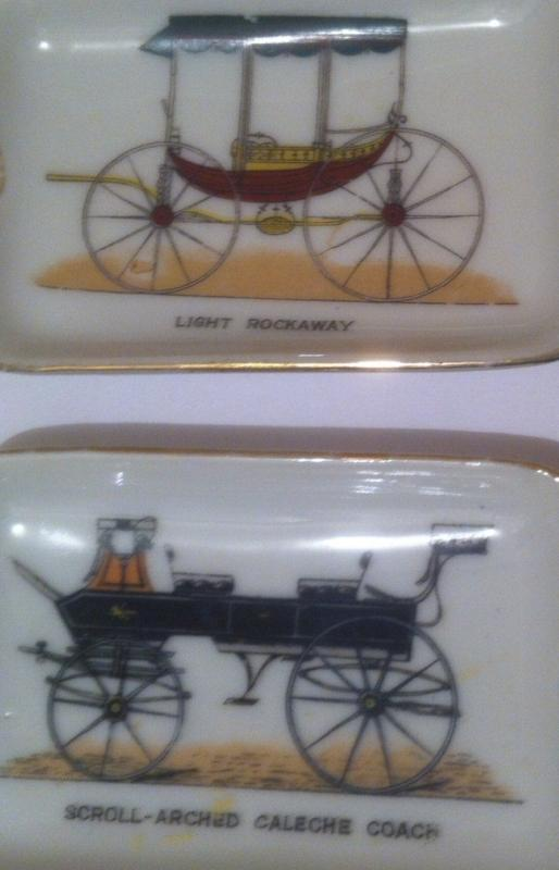 3 Vintage Ashtrays Stack, Hand Painted, Vintage Cars, Light Rockaway, Open Front Buggy, Cigarette Ashtray, Cigar Ashtray, Home Decor