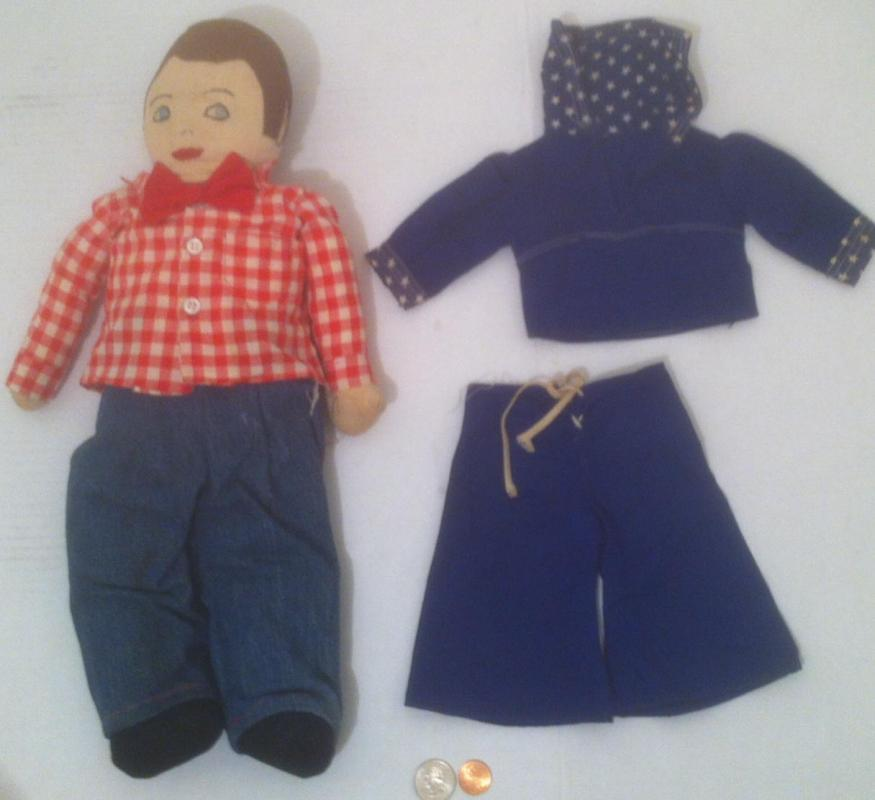 Vintage Hand Made Old Doll, Boy with Red Bow Tie, Country Look, Extra Set of Clothes, Sailor Suit, Navy, Checkered Shirt, Old Time Doll