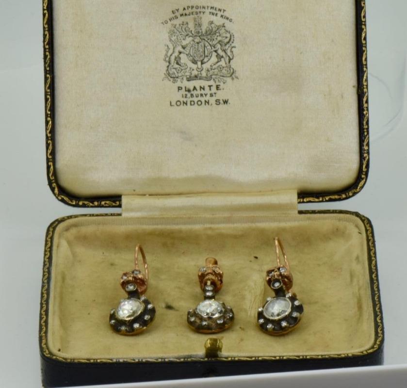 Museum Georgian Memento Mori Skulls 18k Gold 4.5ct Diamonds earrings&pendant set