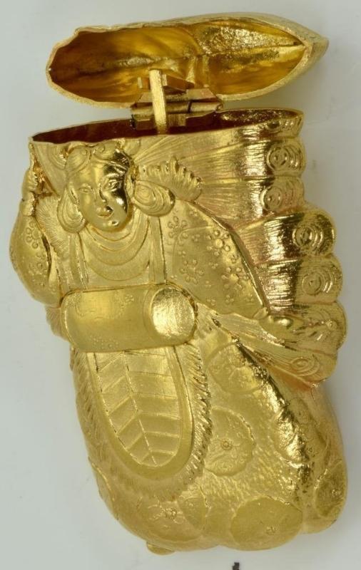 Rare antique 19th Century Japanese Meiji Era 18k gold plated Samurai Vesta Case