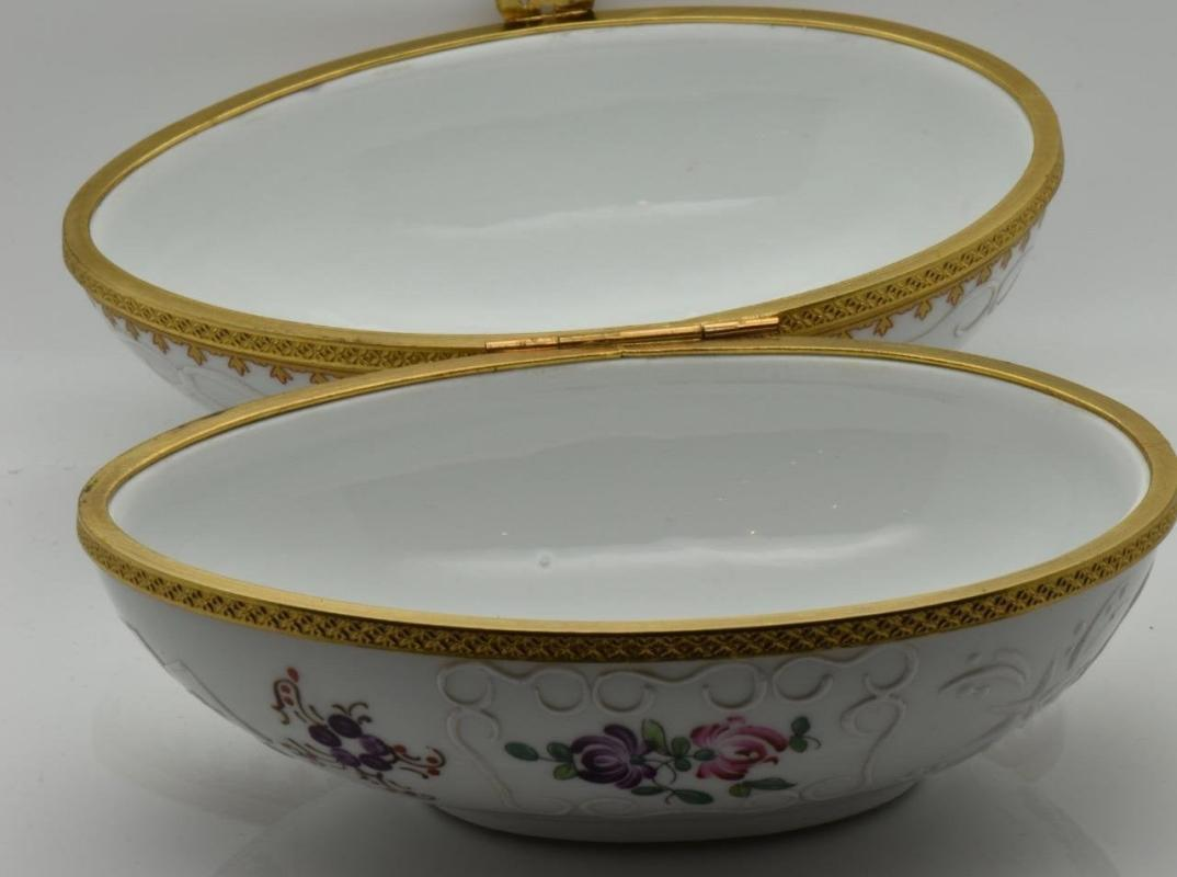 Rare antique fine porcelain&gild brass overlay Easter Egg shape bonbons holder